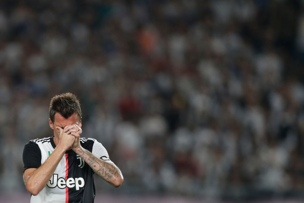 NANJING, CHINA - JULY 24: Mario Mandzukic of Juventus reacts during the International Champions Cup match between Juventus and FC Internazionale at the Nanjing Olympic Center Stadium on July 24, 2019 in Nanjing, China. (Photo by Fred Lee/Getty Images)