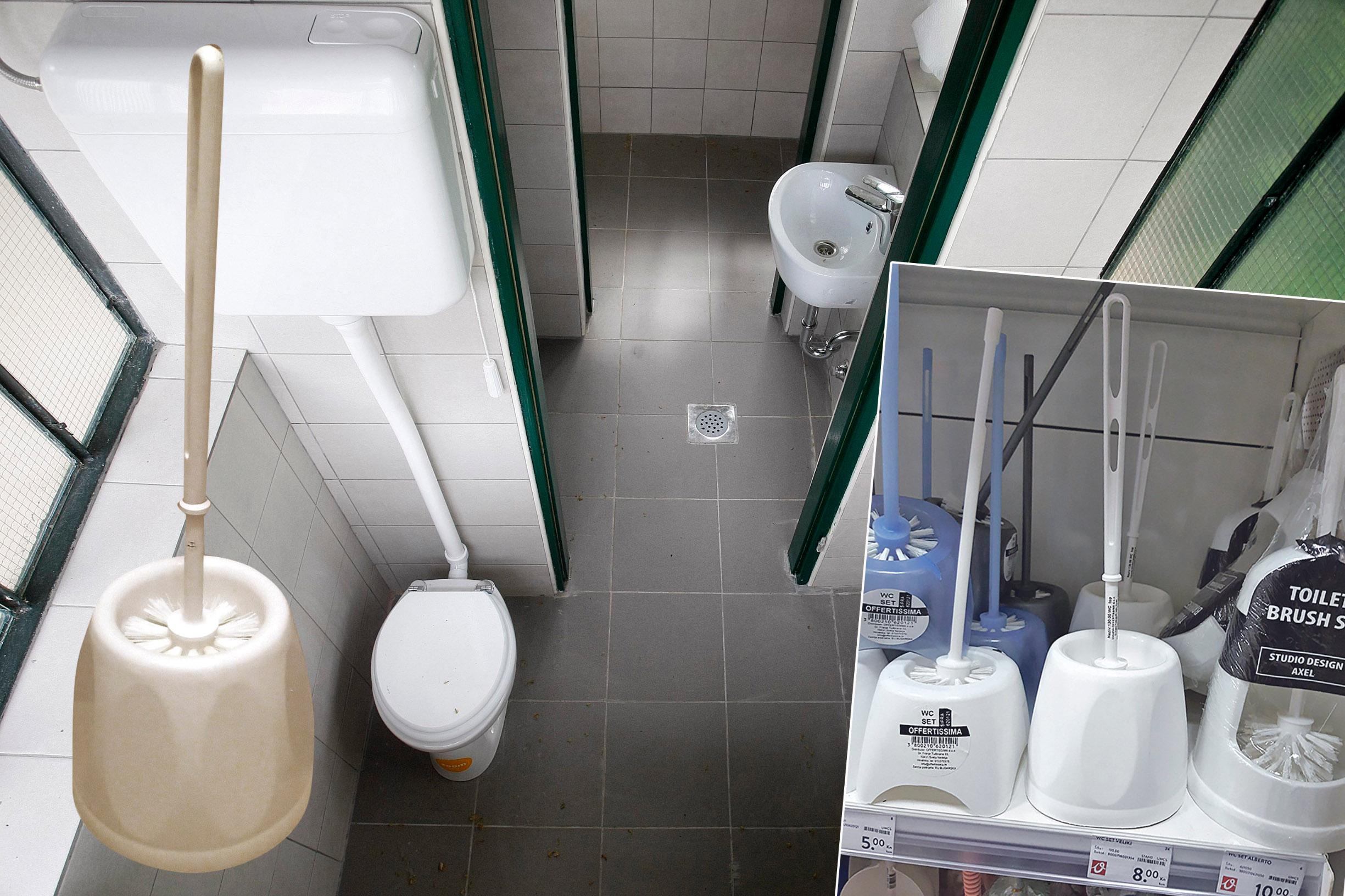 Ilustracija sanitarnog čvora (glavna fotografija), WC četka postavljena u Trnjanskoj Savici (lijevo), WC četke koje stoje 8 kuna u dućanu