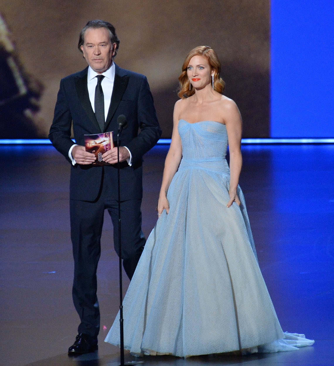 (L-R) Timothy Hutton and Brittany Snow appear onstage during the 71st annual Primetime Emmy Awards at the Microsoft Theater in downtown Los Angeles on Sunday, September 22, 2019. Photo by /UPI, Image: 472503348, License: Rights-managed, Restrictions: , Model Release: no, Credit line: JIM RUYMEN / UPI / Profimedia