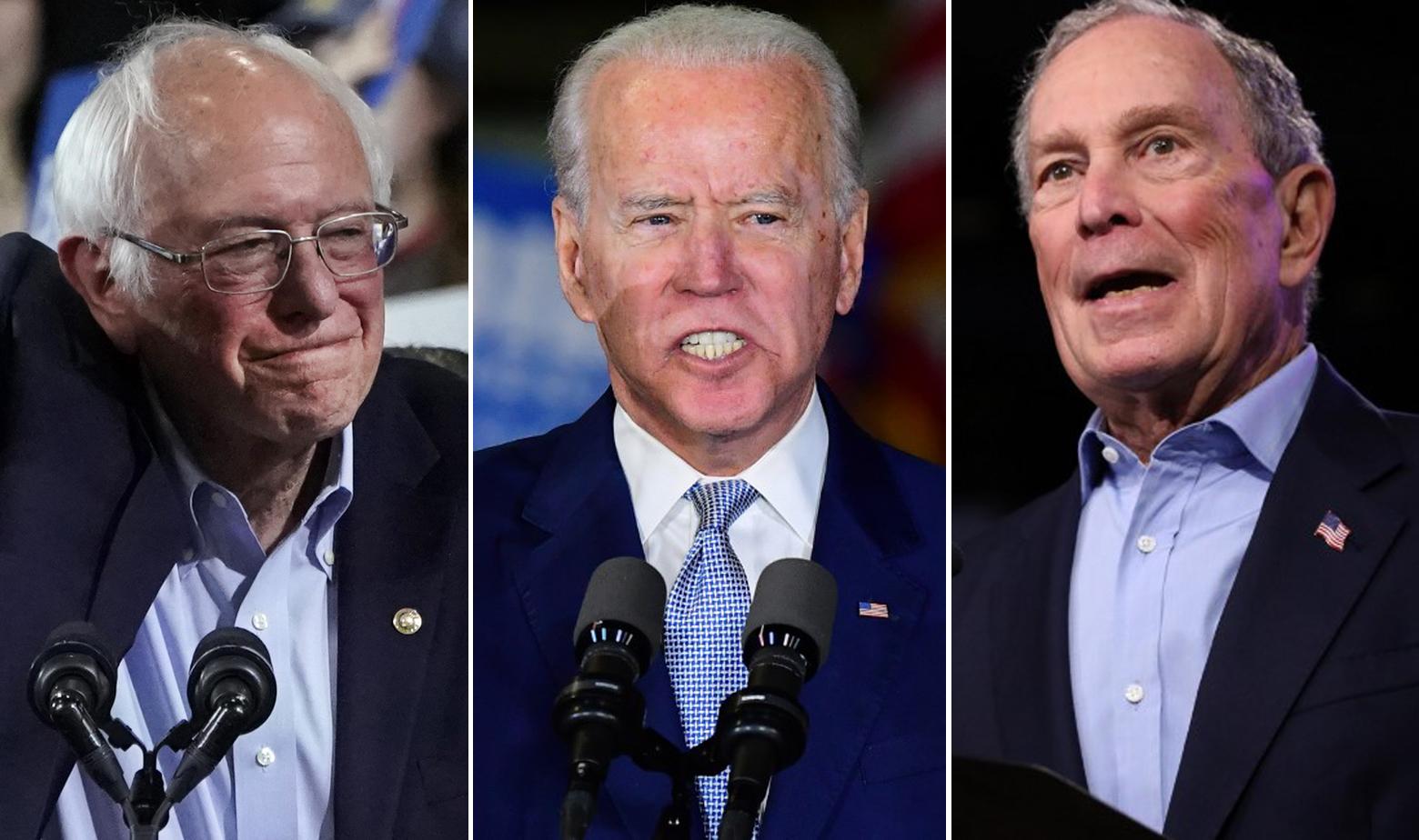 Bernie Sanders, Joe Biden, Michael Bloomberg