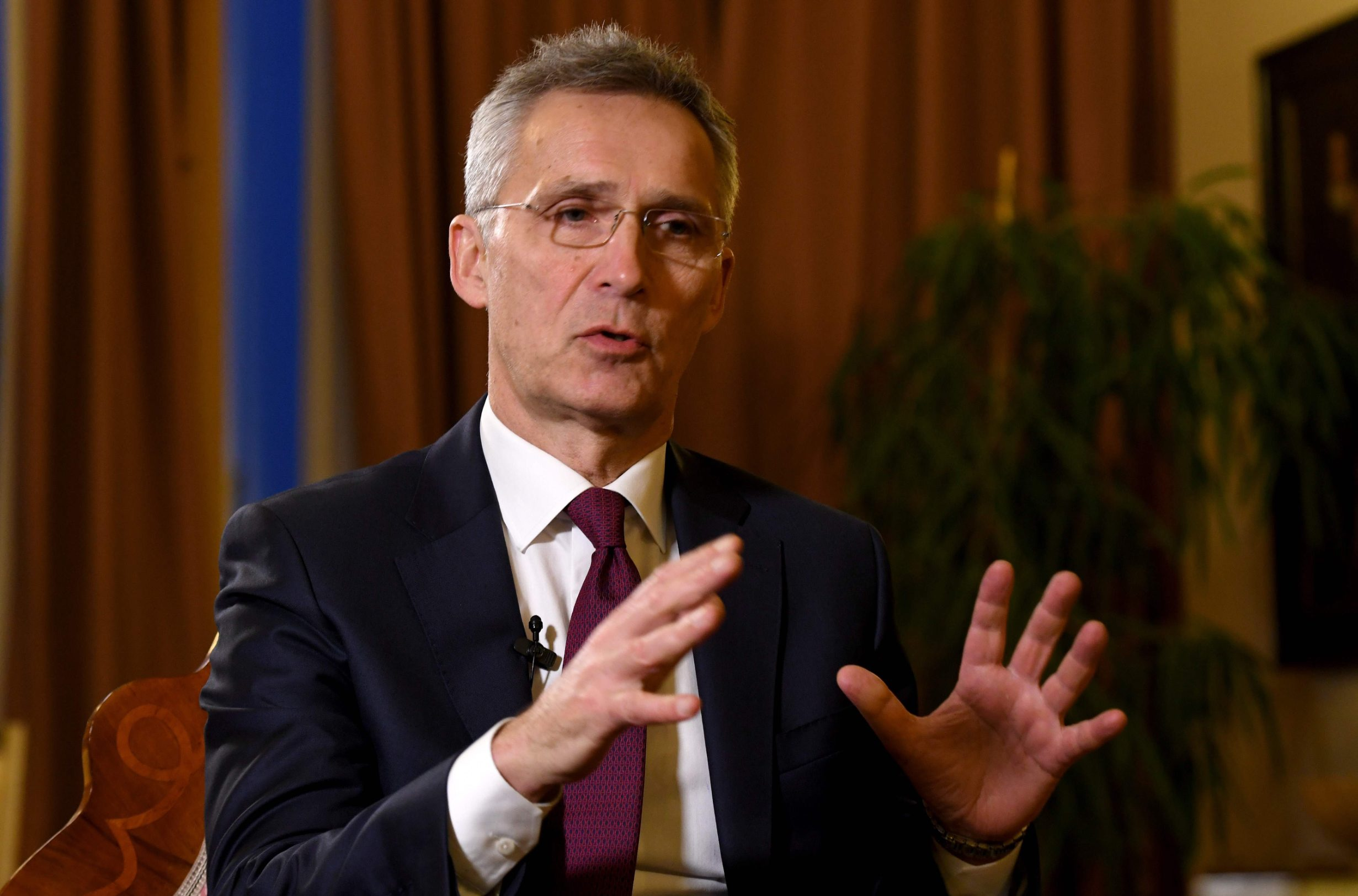 NATO Secretary General Jens Stoltenberg gives a statement following his meeting with Croatian President at the Presidential office in Zagreb, Croatia