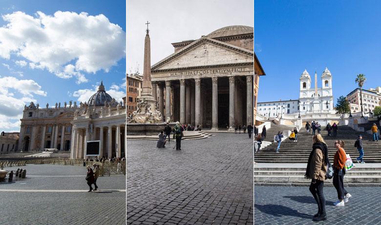 Opustjele ulice Rima i Vatikana
