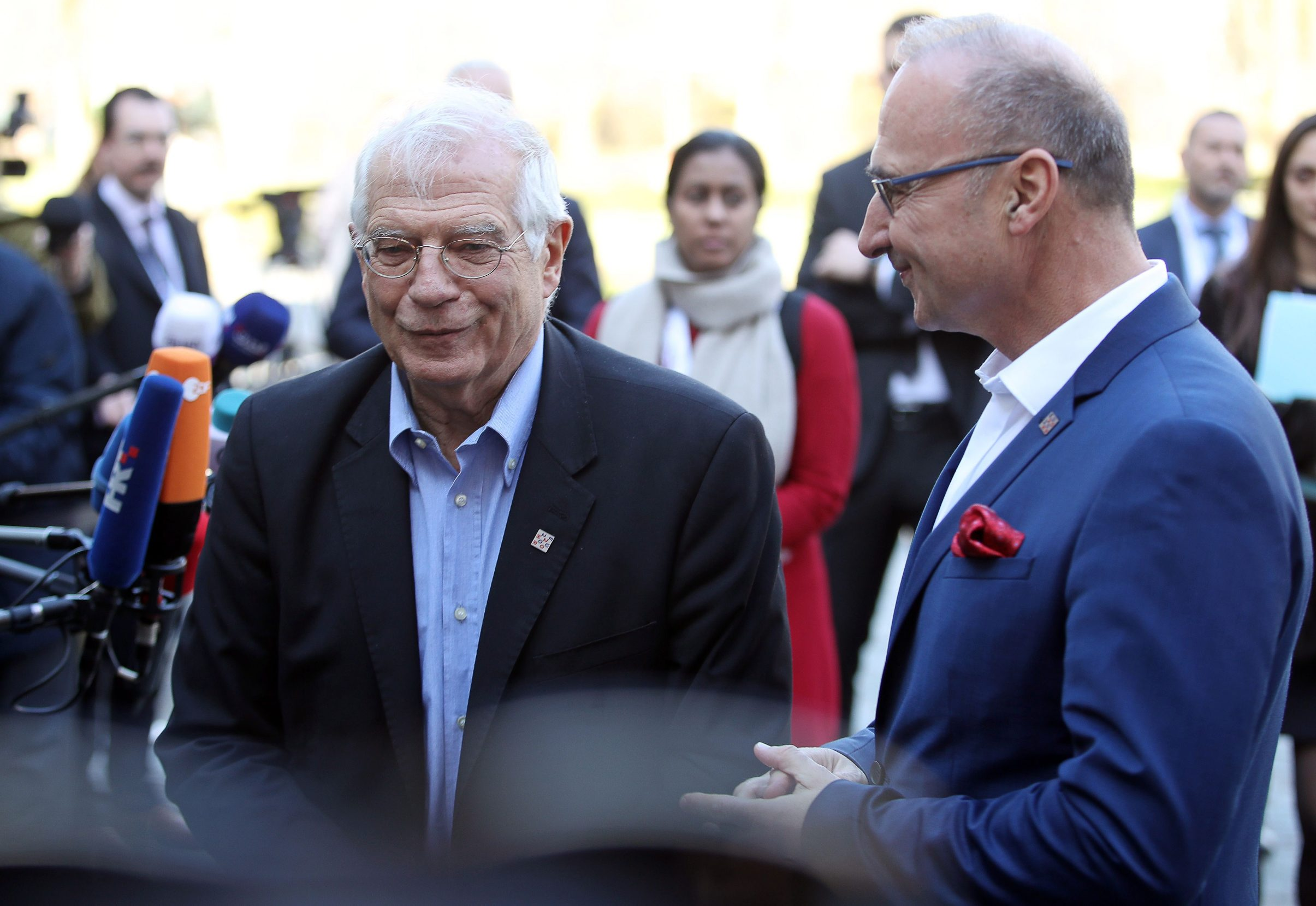 High Representative of the European Union Josep Borrell Fontelles (L) and Croatian Foreign Minister Gordan Grlic Radman (R) arrive at the  Informal meeting of EU Foreign Affairs ministers (Gymnich) at Luznica Castle near Zagreb on March 5, 2020