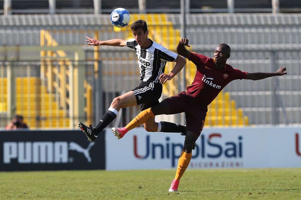 FORLI, ITALY - JUNE 13: Daniel Fotso Tueto of AS Roma in action against Francesco La Manna of Juventus FC during the U15 Serie A Semifinal match between AS Roma and Juventus FC on June 13, 2017 in Forli, Italy.  (Photo by Gabriele Maltinti/Getty Images)