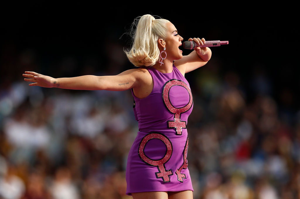 MELBOURNE, AUSTRALIA - MARCH 08: Katy Perry performs during the ICC Women's T20 Cricket World Cup Final between India and Australia at the Melbourne Cricket Ground on March 08, 2020 in Melbourne, Australia. (Photo by Ryan Pierse/Getty Images)
