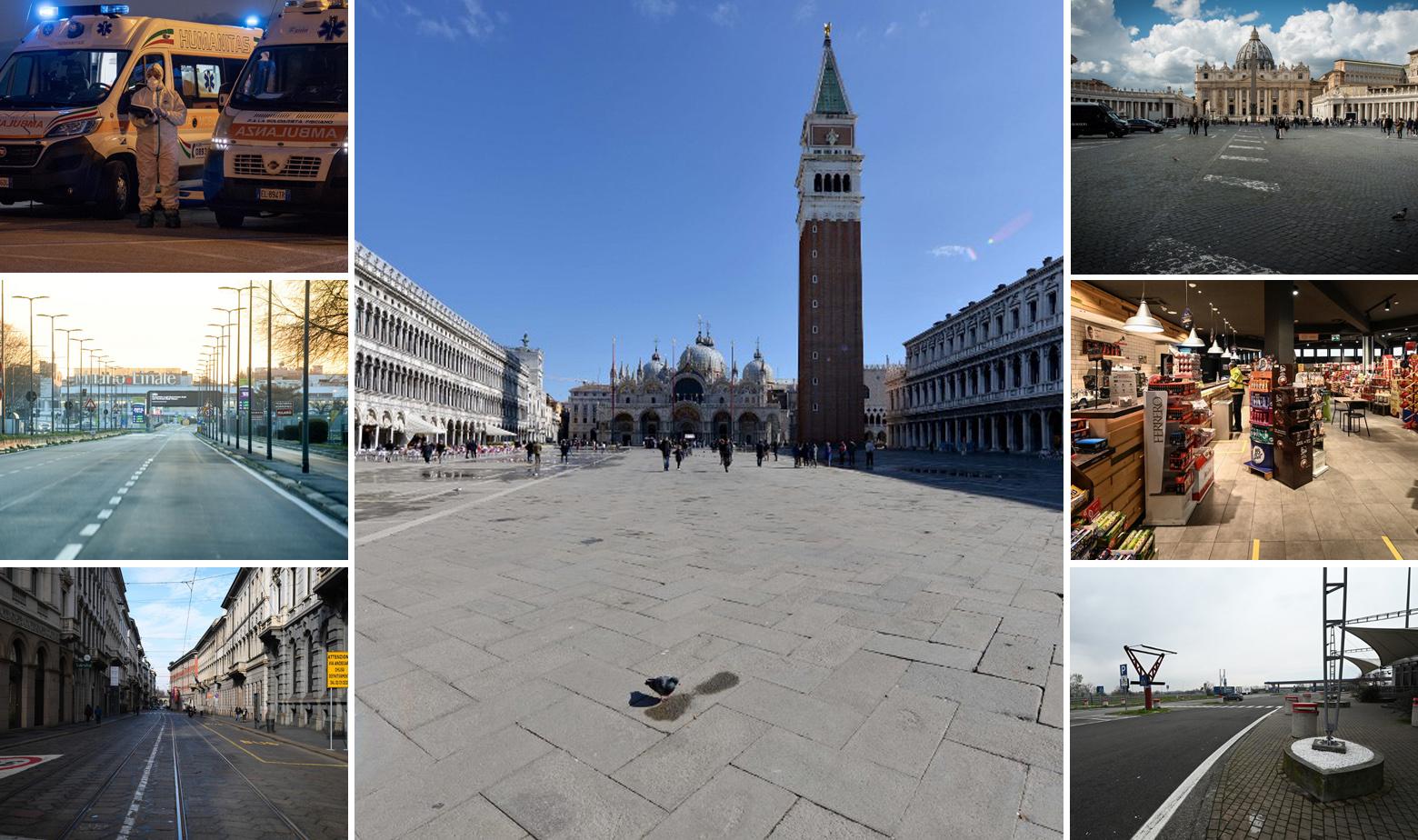 Prazne ulice i trgovi u Italiji