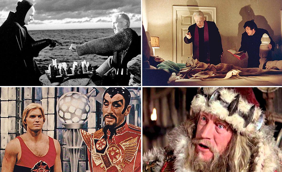 Max von Sydow u filmovima 'Sedmi pečat' (gore lijevo), 'Egzorcist' (gore desno), 'Flash Gordon' (dolje lijevo) i 'Konan Barbarin' (dolje desno)