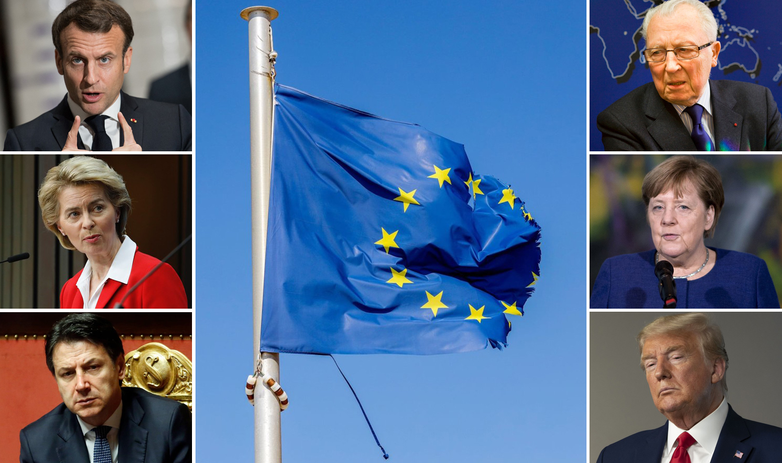 Lijevo, s gore na dolje: Emmanuel Macron, Ursula von der Leyen, Giuseppe Conte; Desno, s gore na dolje: Jacques Delors, Angela Merkel, Donald Trump
