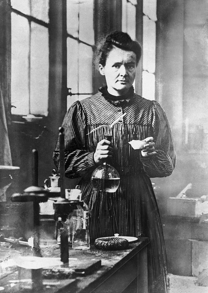 1906: Marie Curie, French physicist and winner of the 1903 Nobel Prize for Physics, which she shared with her husband Pierre Curie. She was the first woman to win a Nobel Prize. (Photo by Hulton Archive/Getty Images)
