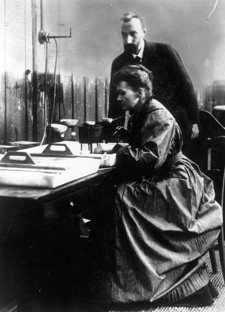 circa 1903:  Marie (1867 - 1934) and Pierre (1859 - 1906) Curie, French physicists and Nobel Prize winners.  (Photo by Central Press/Getty Images)