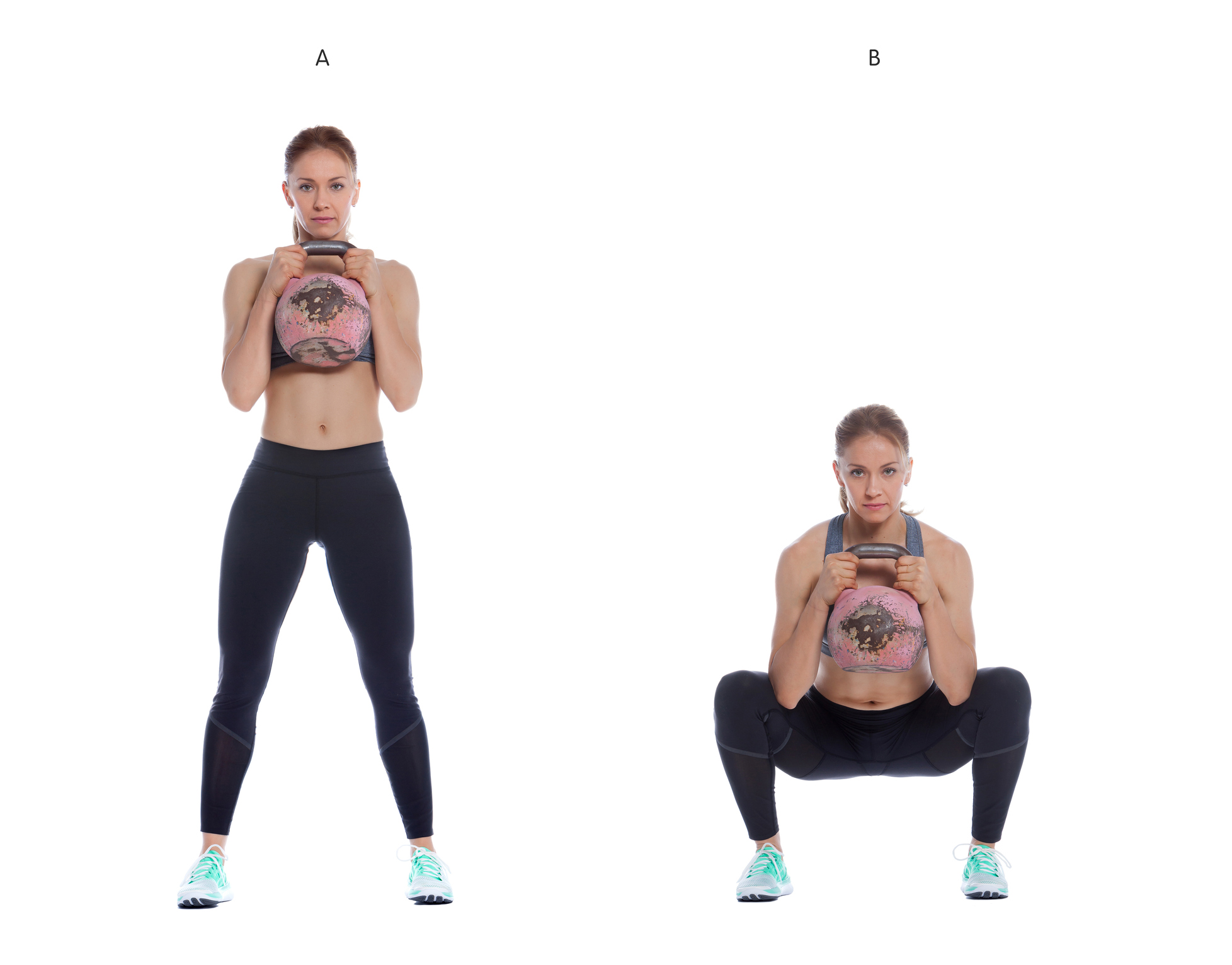 Athletic woman performing a functional exercise with kettlebell.