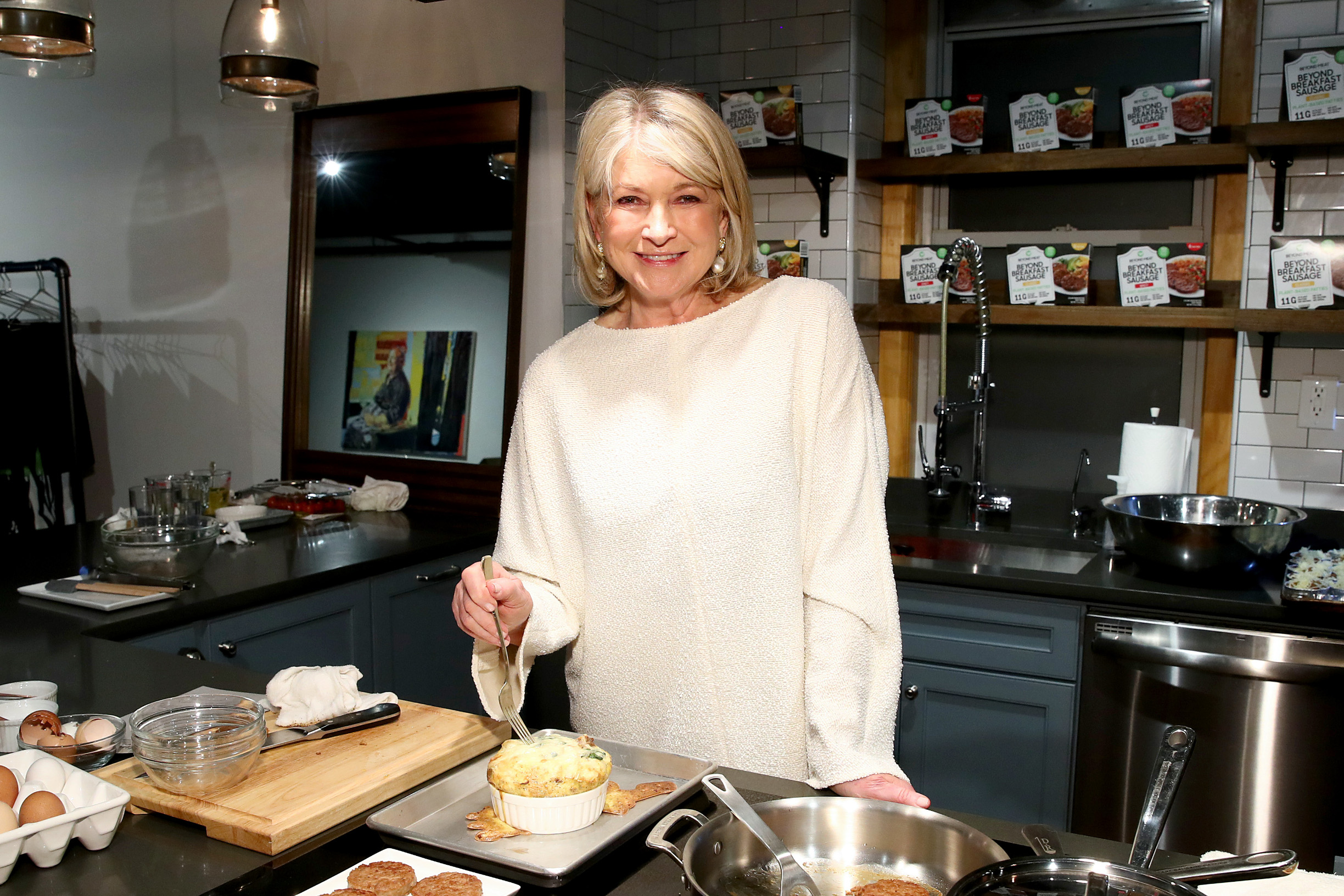 NEW YORK, NEW YORK - MARCH 10: Martha Stewart prepares the Classic Beyond Breakfast Sausage with Spinach and Sweet Onion Frittata on March 10, 2020 in New York City. (Photo by Cindy Ord/Getty Images)