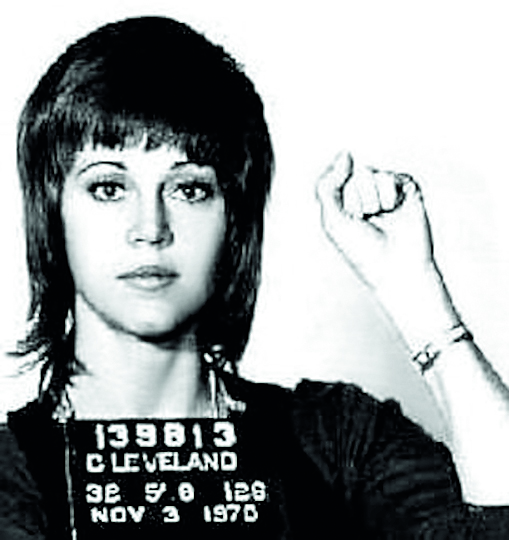 In this handout, American actress, writer, producer, political activist Jane Fonda in a mug shot following her arrest, Cleveland, Ohio, US, 3rd November 1970. (Photo by Kypros/Getty Images)