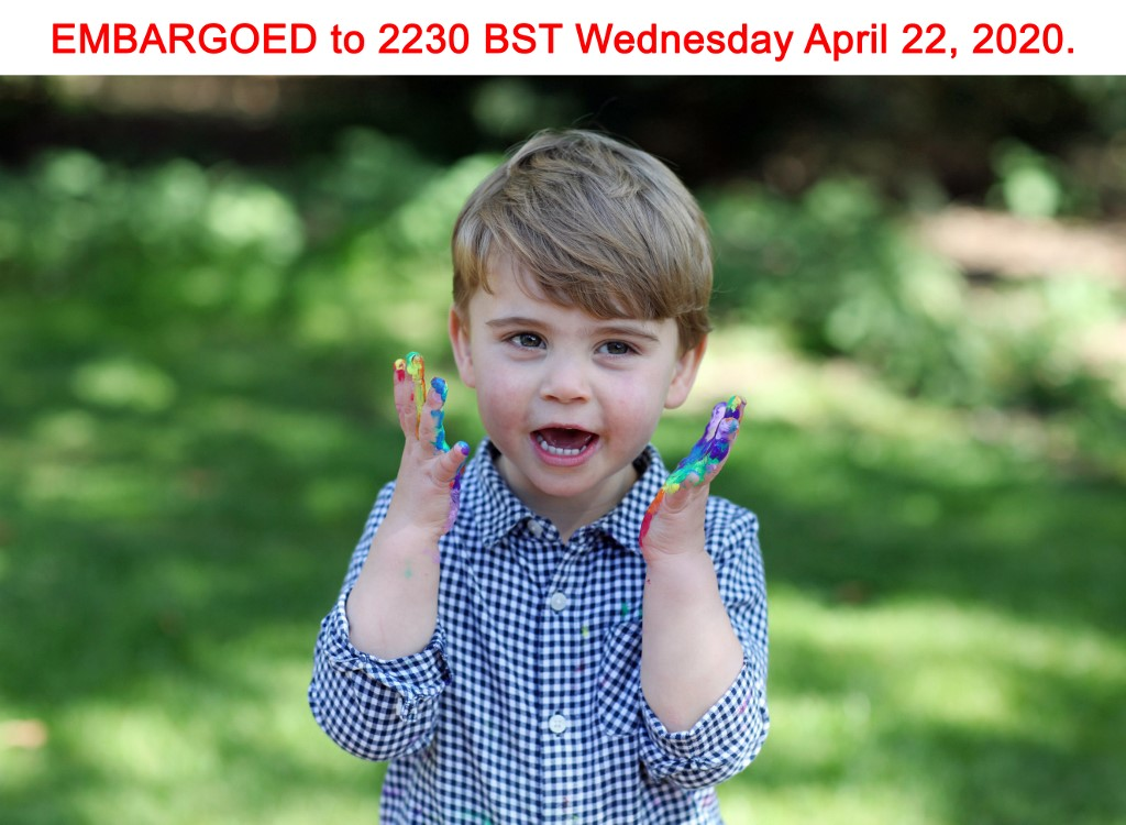 This undated photograph released by Kensington Palace on April 22, 2020, shows  Britain's Prince Louis of Cambridge, who celebrates his second birthday on April 23, 2020, in a photograph taken by his mother, Britain's Catherine, Duchess of Cambridge. (Photo by The Duchess of Cambridge / KENSINGTON PALACE / AFP) / RESTRICTED TO EDITORIAL USE - MANDATORY CREDIT