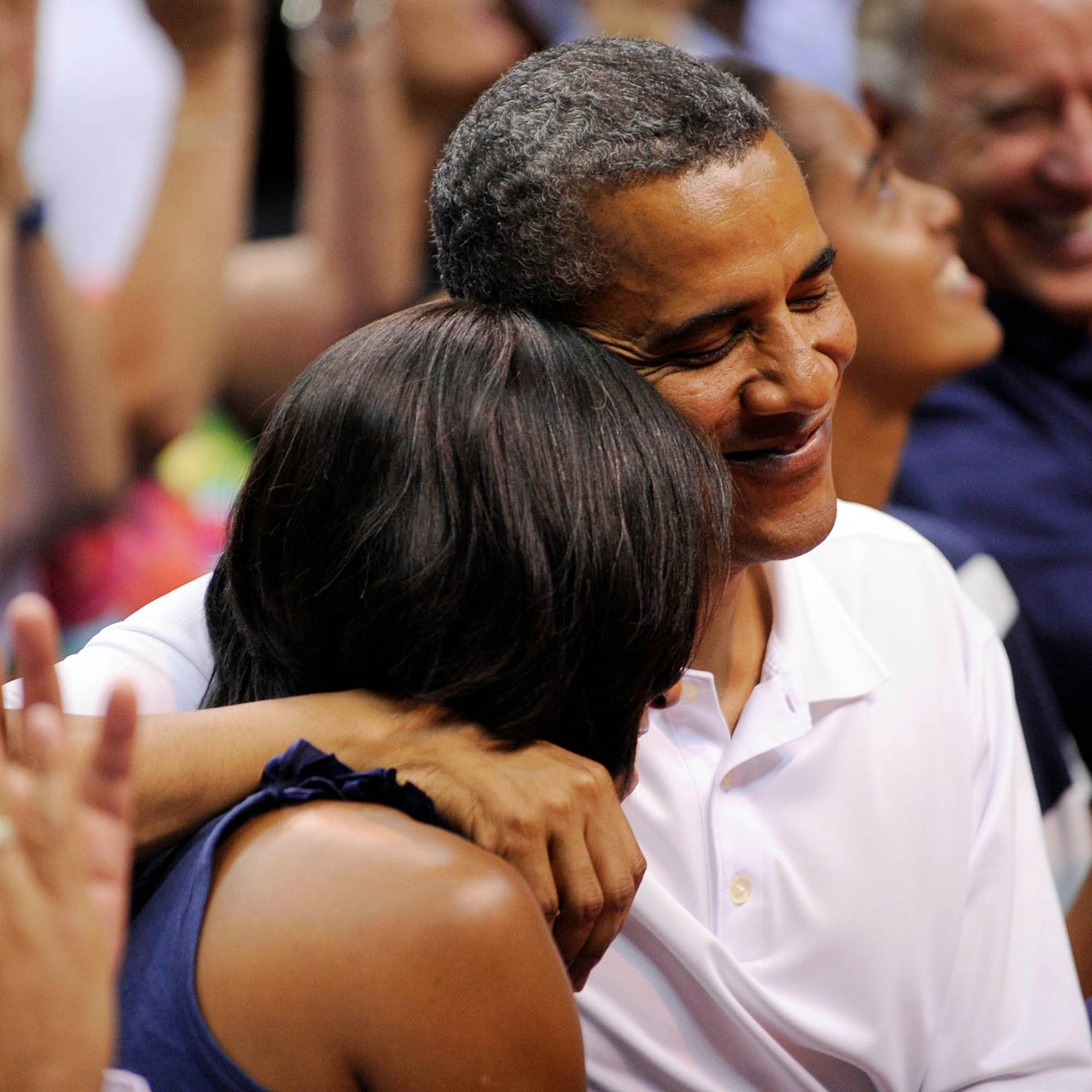 -Washington, District of Columbia - 07/16/2012 - United States President Barack Obama, First LAdy Michelle Obama and Vice President Joe Biden Attend the Olympics-bound U.S. men's national basketball team game against Brazil, at the Verizon Center. -PICTURED: Barack Obama,Michelle Obama -, Image: 137951240, License: Rights-managed, Restrictions: , Model Release: no, Credit line: Leslie E. Kossoff / INSTAR Images / Profimedia
