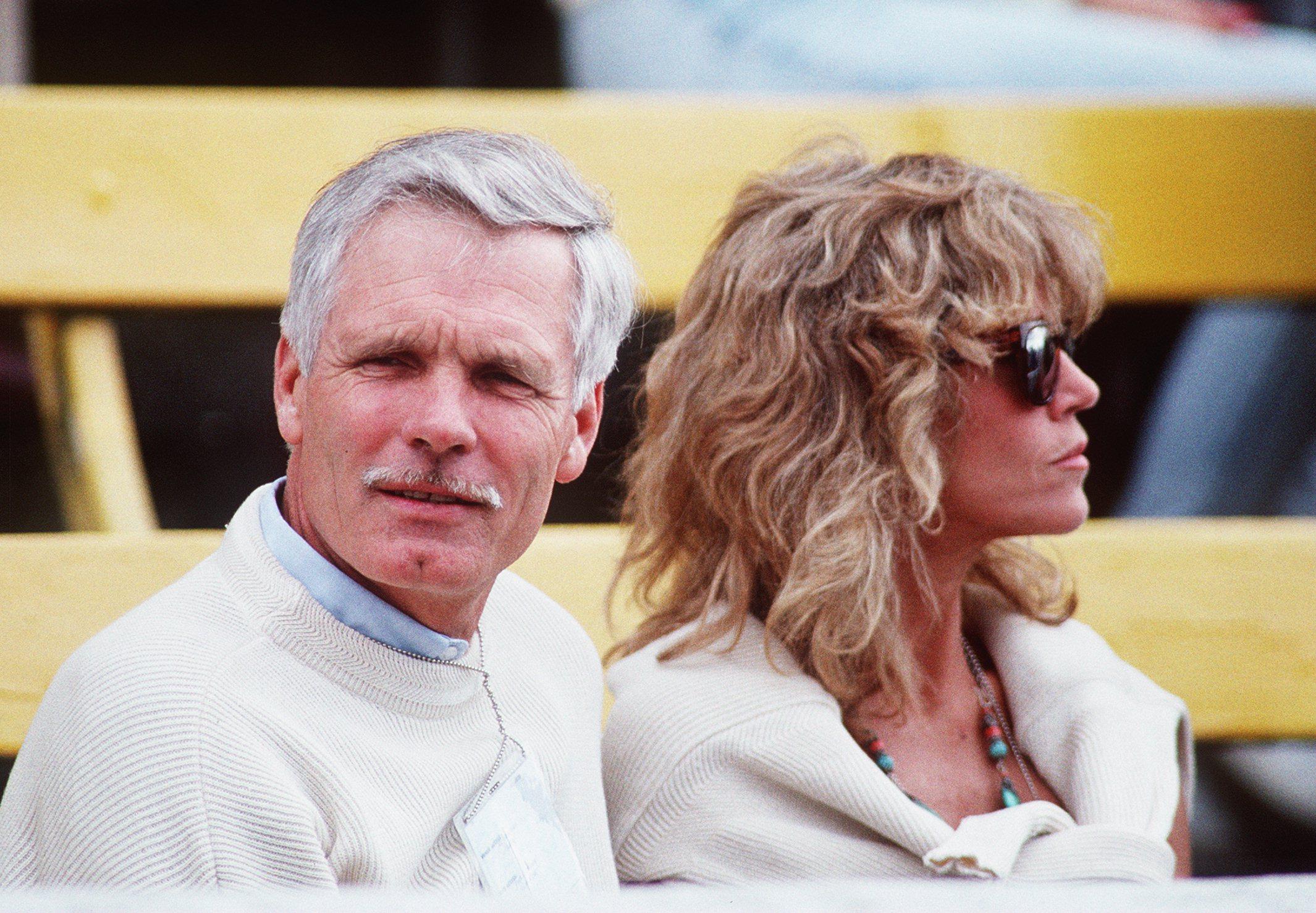 24 JUL 1990:  MEDIA MAGNATE TED TURNER AND ACTRESS JANE FONDA. Mandatory Credit: Tony Duffy/ALLSPORT