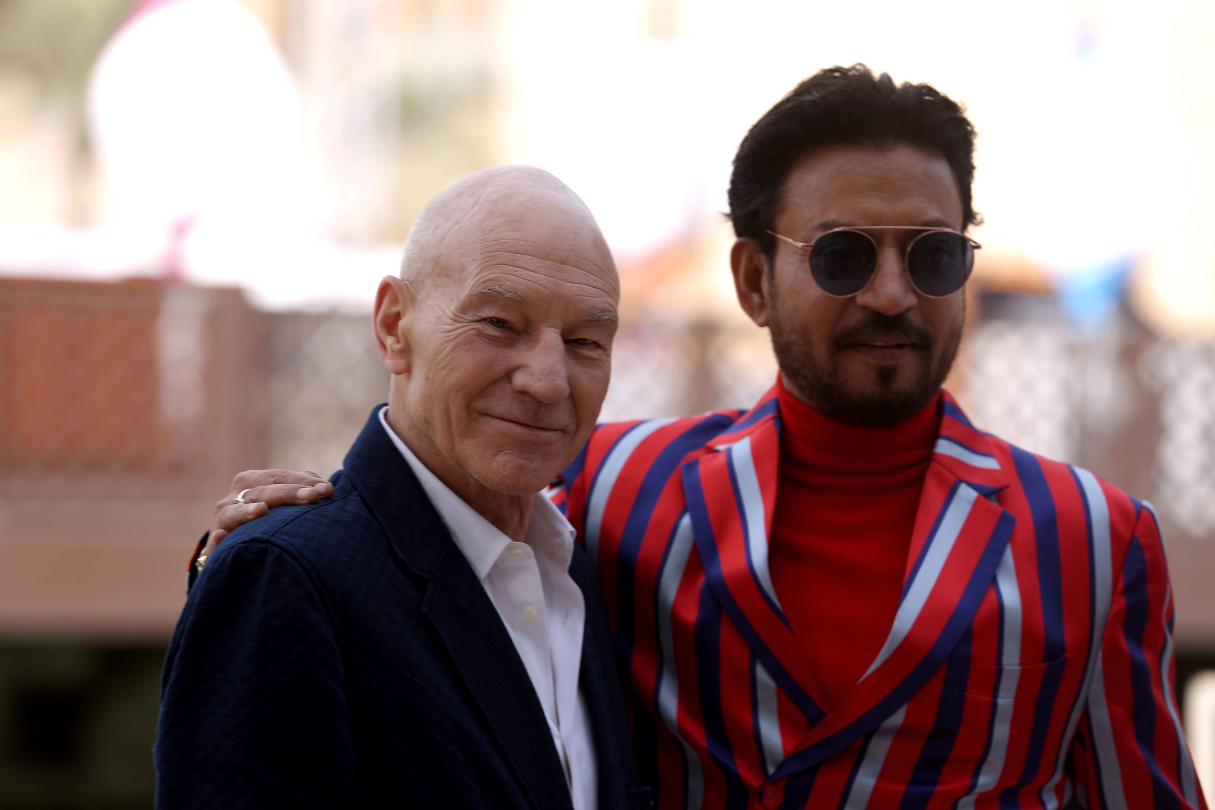 (FILES) In this file photo taken on December 08, 2017 British actor Sir Patrick Stewart and Indian actor Irrfan Khan pose during a photo call at the Dubai International Film Festival in Dubai. - Acclaimed Indian actor Irrfan Khan, whose international movie career included hits like