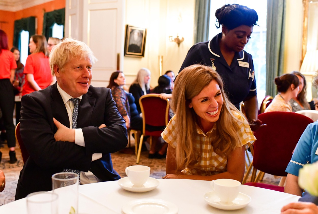 12/08/2019. London, United Kingdom. The Prime Minister Boris Johnson and his partner Carrie Symonds attend the PM's first reception inside No10 Downing Street, to mark the hard work of front line hospice Nurses and staff ., Image: 466651628, License: Rights-managed, Restrictions: WORLD RIGHTS - Fee Payable Upon Reproduction - For queries contact Avalon.red - sales@avalon.red London: +44 (0) 20 7421 6000 Los Angeles: +1 (310) 822 0419 Berlin: +49 (0) 30 76 212 251, Model Release: no, Credit line: Andrew Parsons / Parsons Media / Avalon Editorial / Profimedia