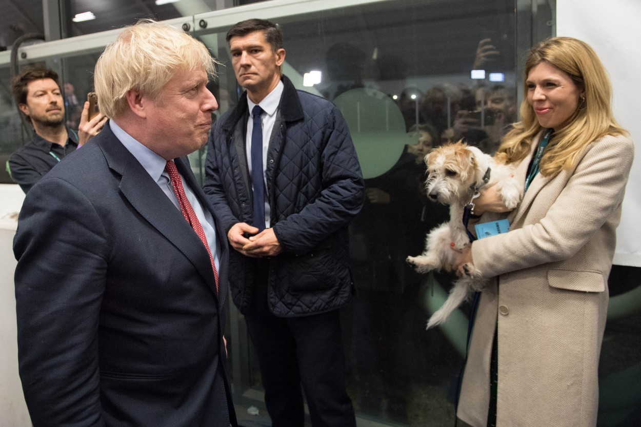 Prime Minister Boris Johnson with partner Carrie Symonds and dog Dilyn at the count for the Uxbridge & Ruislip South constituency in the 2019 General Election., Image: 487833502, License: Rights-managed, Restrictions: , Model Release: no, Credit line: Stefan Rousseau / PA Images / Profimedia