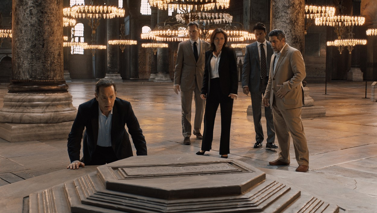 Inferno (2016) Langdon (Tom Hanks) with Sinskey (Sidse Babett Knudsen) and Harry Sims (Irrfan Khan)   *Filmstill - Editorial Use Only*, Image: 303819451, License: Rights-managed, Restrictions: , Model Release: no, Credit line: Image  Capital Pictures / Film Stills / Profimedia