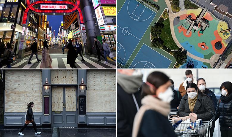 U smjeru kazaljke na satu: Tokio, San Francisco, Casalpusterlengo u Italiji, Edinburgh