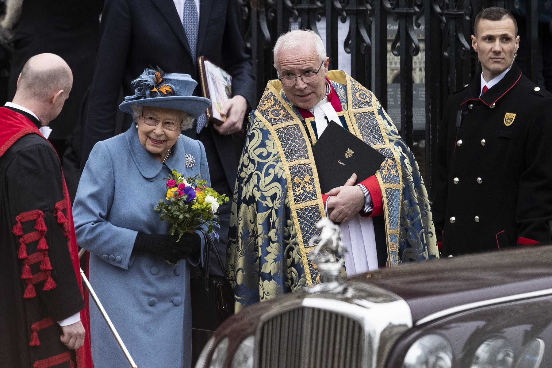 LONDON, ENGLAND - MARCH 09: Queen Elizabeth II leaves after attending the Commonwealth Day Service 2020 on March 09, 2020 in London, England. (Photo by Dan Kitwood/Getty Images)