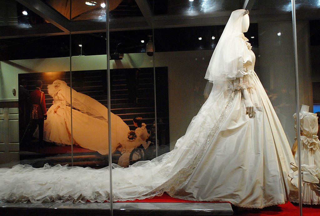 PHILADELPHIA - OCTOBER 1:  Princess Diana's wedding gown is displayed at a preview of the traveling