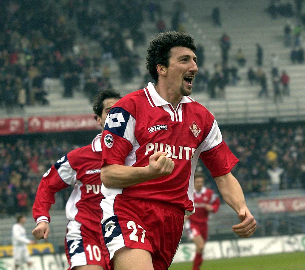 17 Feb 2002:  Dario Hubner of Piacenza celebrates after scoring during the Serie A match between Piacenza and Venezia, played at the Galleana Stadium, Piacenza.   DIGITAL IMAGE Mandatory Credit: Grazia Neri/Getty Images