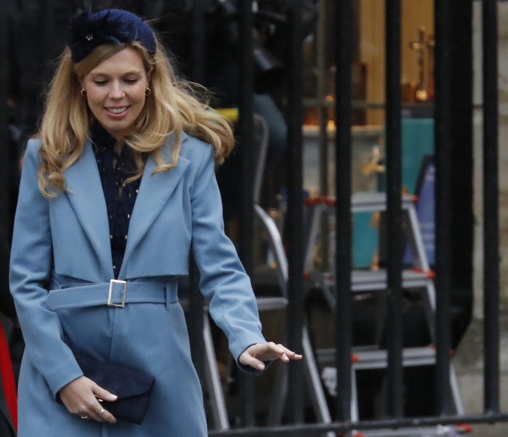 Britain's Prime Minister Boris Johnson's partner Carrie Symonds leaves after attending the annual Commonwealth Service at Westminster Abbey in London on March 09, 2020. - Britain's Queen Elizabeth II has been the Head of the Commonwealth throughout her reign. Organised by the Royal Commonwealth Society, the Service is the largest annual inter-faith gathering in the United Kingdom. (Photo by Tolga AKMEN / AFP)