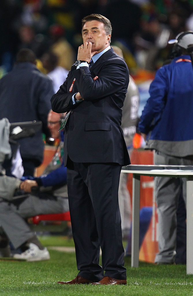 PRETORIA, SOUTH AFRICA - JUNE 13:  Radomir Antic head coach of Serbia looks thoughtful after defeat in the 2010 FIFA World Cup South Africa Group D match between Serbia and Ghana at Loftus Versfeld Stadium on June 13, 2010 in Pretoria, South Africa.  (Photo by Martin Rose/Getty Images)