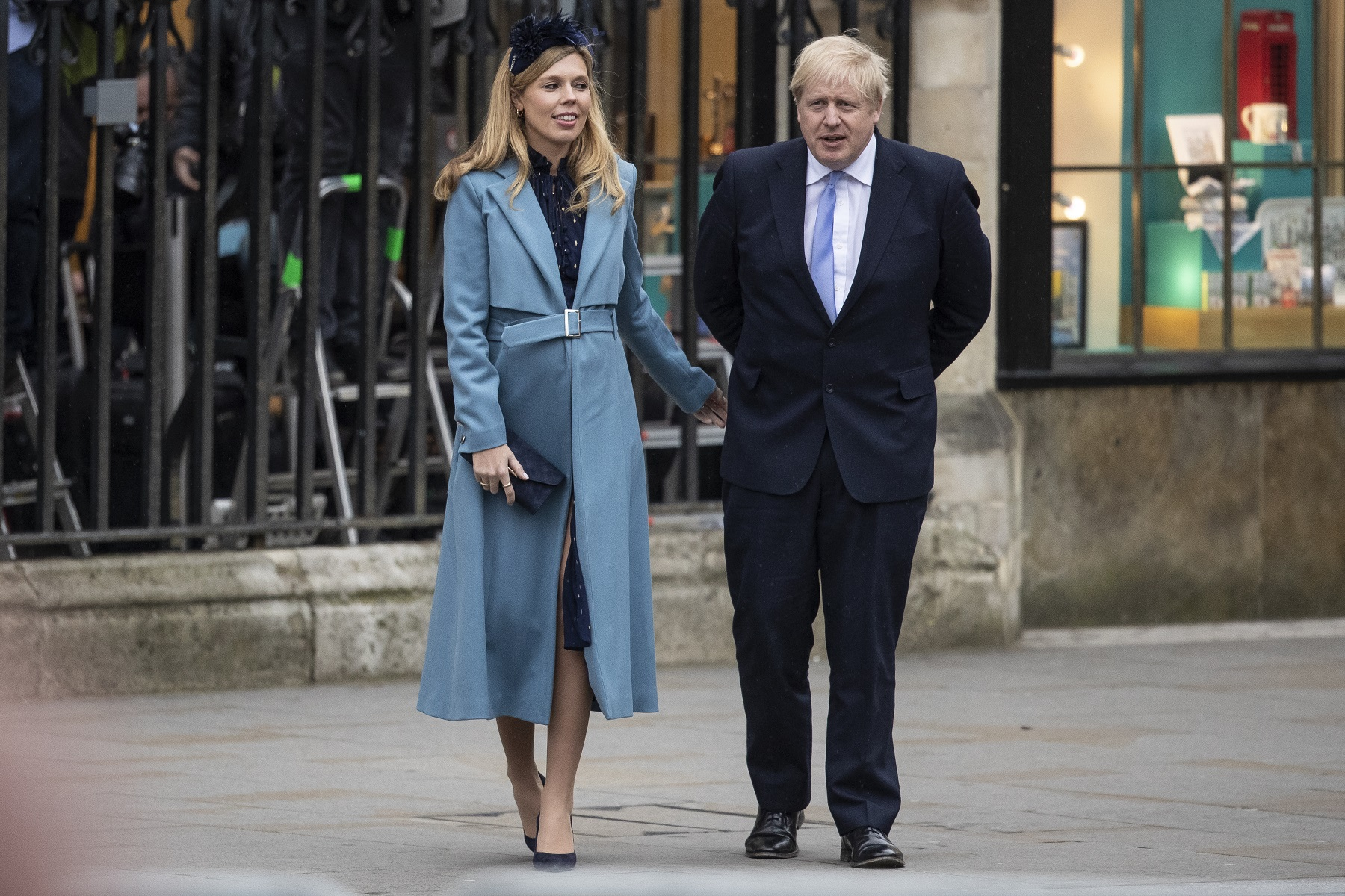 LONDON, ENGLAND - MARCH 09: Prime Minister Boris Johnson and Carrie Symonds leave after attending the annual Commonwealth Day Service at Westminster Abbey on March 9, 2020 in London, England. (Photo by Dan Kitwood/Getty Images)