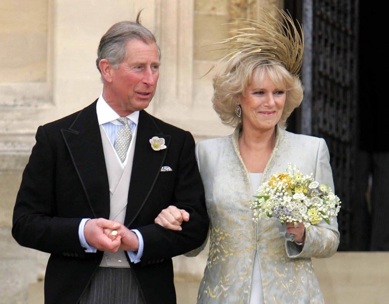 Britain's Prince Charles and Duchess of Cornwall leave St. George's Chapel in Windsor Castle, England following the Service of Prayer and Dedication following their marriage, April 9, 2005. Prince Charles and his long-term partner Camilla Parker Bowles, who became Her Royal Highness the Duchess of Cornwall.  Date: 09.04.2005., Image: 22417298, License: Rights-managed, Restrictions: - NO UK USE - For queries call UPPA + 44 (0)20 7421 6000, Model Release: no, Credit line: © UPPA/Photoshot / Avalon Editorial / Profimedia