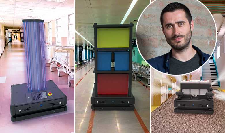 Vizualizacije robota na zadacima u bolnicama; u krugu: Matija Kopić
