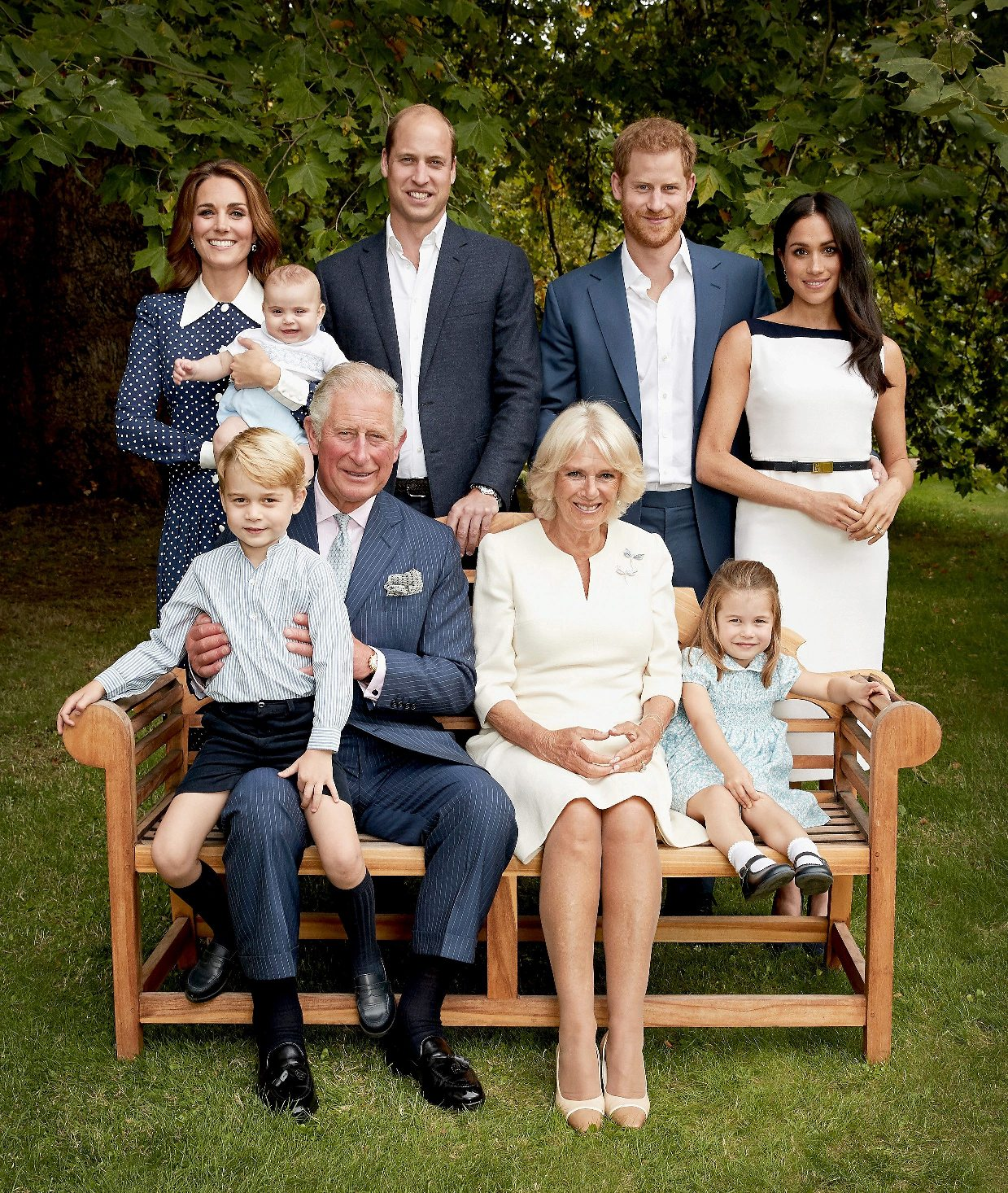 Britain's Prince Charles, Prince of Wales, poses for an official portrait to mark his 70th birthday in the gardens of Clarence House, with Camilla, Duchess of Cornwall, Prince Willliam, Duke of Cambridge, Catherine, Duchess of Cambridge, Prince George, Princess Charlotte, Prince Louis, Prince Harry, Duke of Sussex, and Meghan, Duchess of Sussex, in London, England, in this September 5, 2018 handout image provided by Clarence House. Chris Jackson/Getty Images/Clarence House/Handout via REUTERS    ATTENTION EDITORS - THIS PICTURE WAS PROVIDED BY A THIRD PARTY. NO RESALES. NO ARCHIVE. NO SALES. MANDATORY CREDIT. Strictly for editorial use only and available until December 12, 2018. The photograph must not be digitally enhanced, manipulated or modified when published. The photograph must not be used on the cover of any book or guides without prior consent from Clarence House.