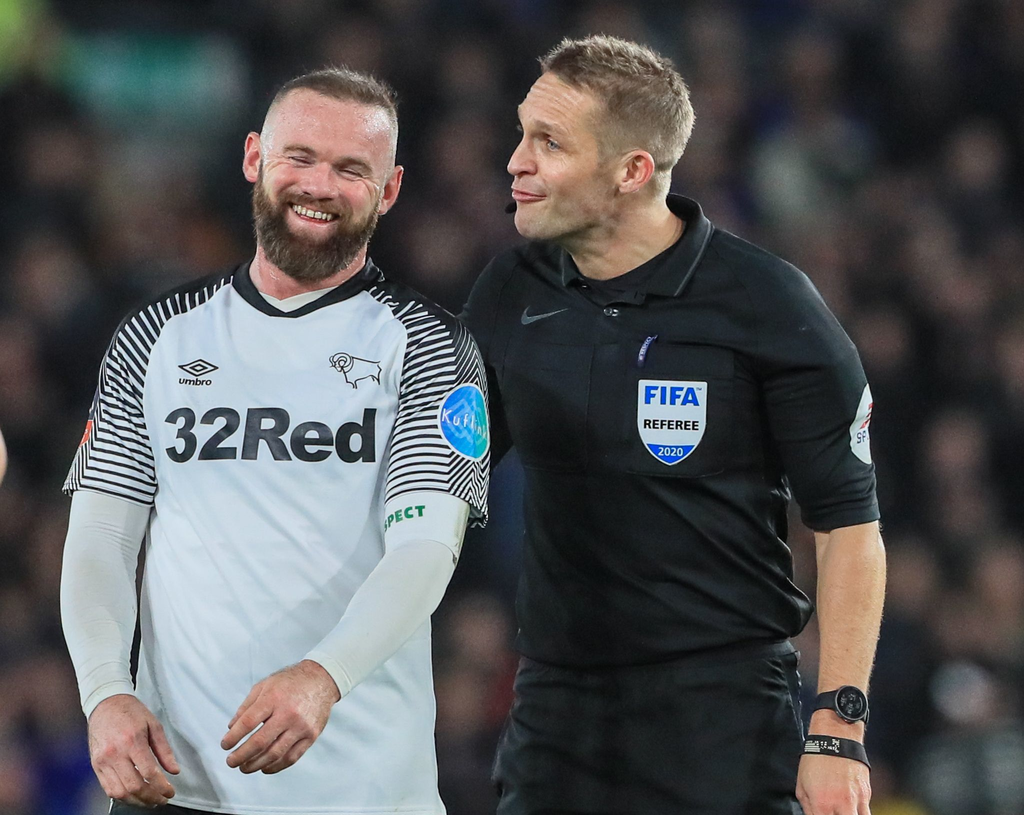 5th March 2020, Pride Park Stadium, Derby, England; Emirates FA Cup 5th Round, Derby County v Manchester United : Wayne Rooney (32) of Derby County laughs with referee Craig Pawson Derby County v Manchester United, Emirates FA Cup Fifth Round, Football, Pride Park Stadium, Derby, UK - 05 Mar 2020, Image: 503871280, License: Rights-managed, Restrictions: EDITORIAL USE ONLY No use with unauthorised audio, video, data, fixture lists, club/league logos or