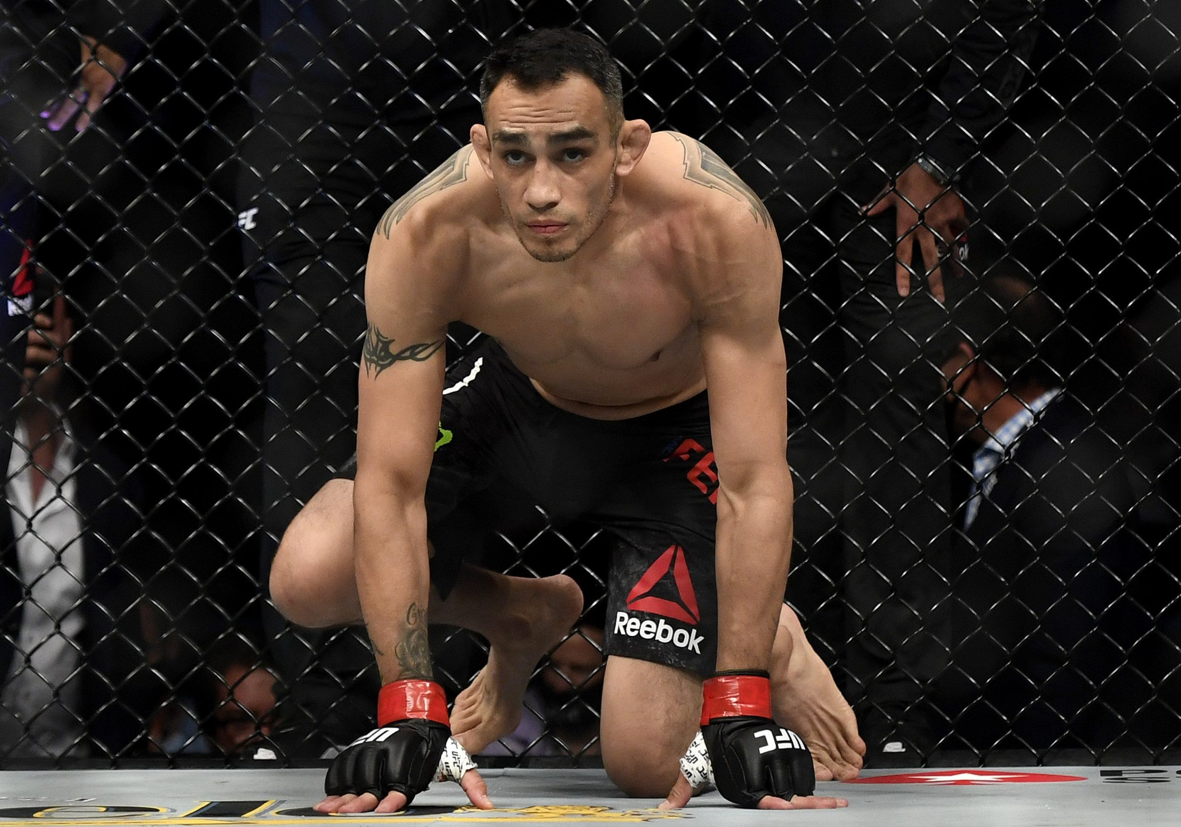JACKSONVILLE, FLORIDA - MAY 09: Tony Ferguson of the United States prepares to fight Justin Gaethje of the United States prior to their Interim lightweight title fight during UFC 249 at VyStar Veterans Memorial Arena on May 09, 2020 in Jacksonville, Florida.   Douglas P. DeFelice/Getty Images/AFP == FOR NEWSPAPERS, INTERNET, TELCOS & TELEVISION USE ONLY ==