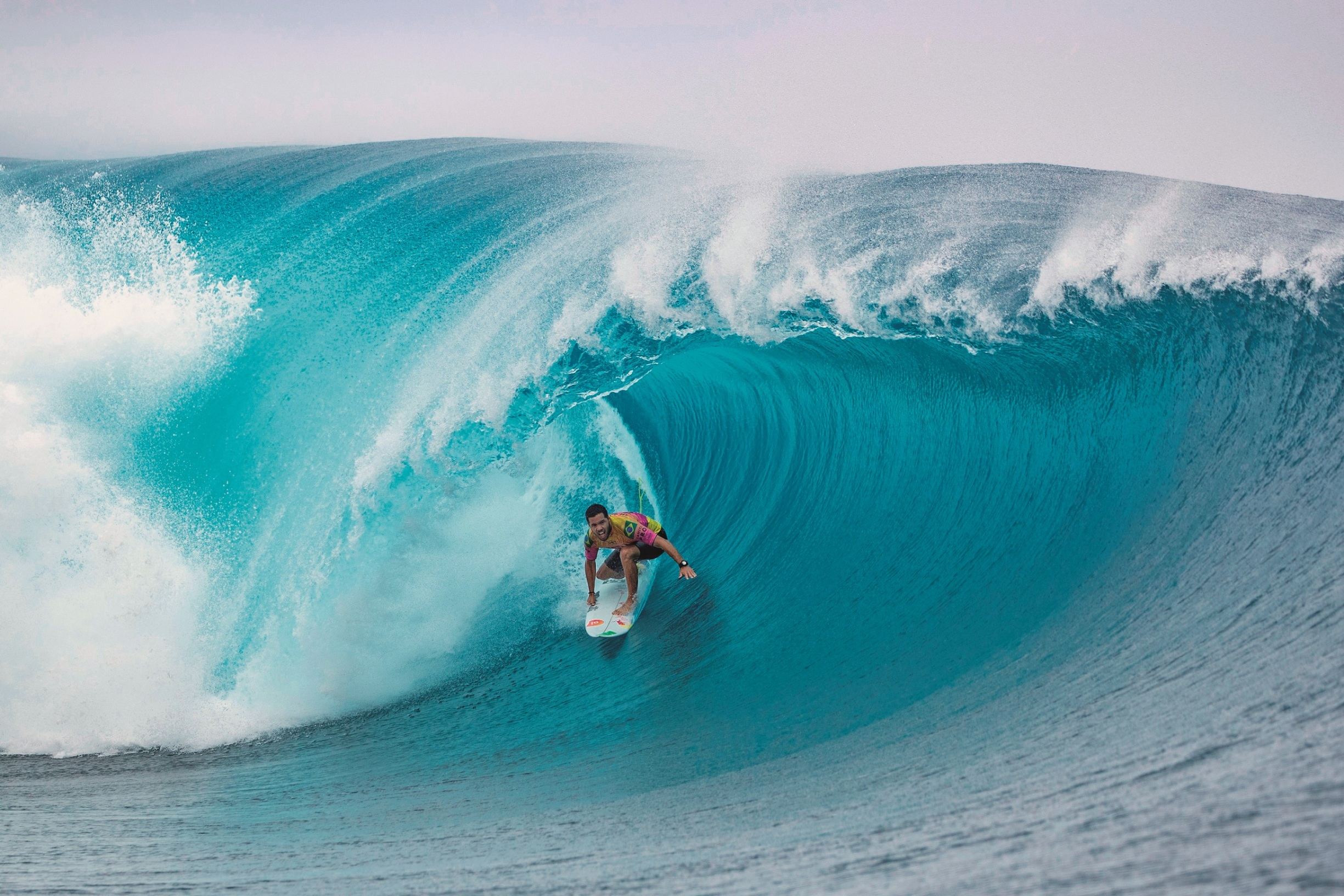Brazilian surfer Adriano De Souza competes on the third day of the 2019 Tahiti Pro at Teahupoo, Tahiti, on August 28, 2019., Image: 467626117, License: Rights-managed, Restrictions: RESTRICTED TO EDITORIAL USE, Model Release: no, Credit line: brian bielmann / AFP / Profimedia
