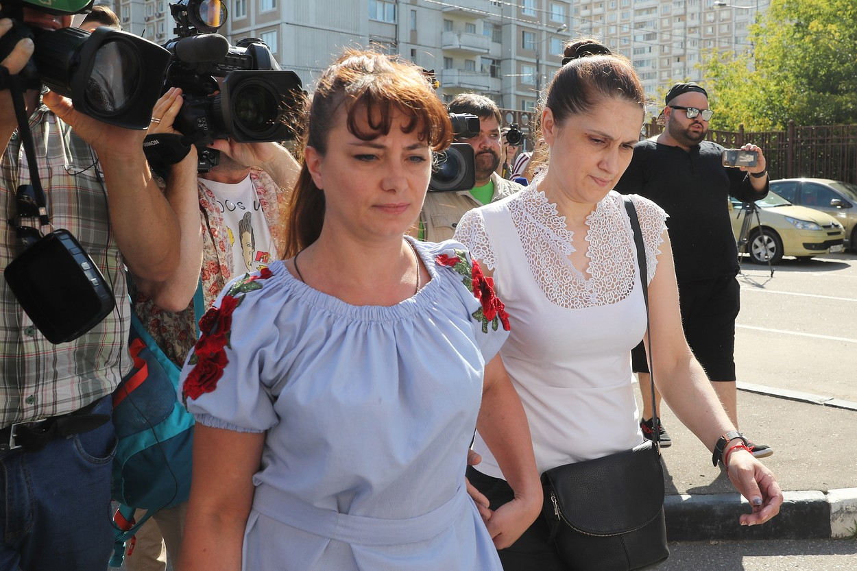 MOSCOW, RUSSIA - AUGUST 2, 2018: Aurelia (R), the mother of the Khachaturyan sisters charged with the murder of their father, and her lawyer ahead of a hearing outside Moscow's Ostankinsky District Court. Mikhail Khachaturyan was stabbed to death by his daughters, Kristina, 19, Angelina, 18 and Maria, 17 at their home on Altufyevskoye Highway on July 27, 2018. Vyacheslav Prokofyev/TASS, Image: 380751564, License: Rights-managed, Restrictions: , Model Release: no, Credit line: Vyacheslav Prokofyev / TASS / Profimedia