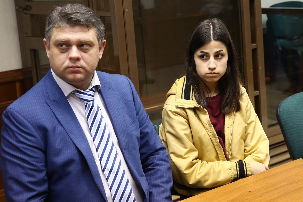 MOSCOW, RUSSIA - OCTOBER 17, 2018: Angelina (R), one of the Khachaturyan sisters charged with the murder of their father, with her lawyer during a hearing at the Moscow City Court. Mikhail Khachaturyan was stabbed to death by his daughters, Krestina, 19, Angelina, 18 and Maria, 17, at their home in northern Moscow on July 27, 2018. Alexander Shcherbak/TASS, Image: 391443725, License: Rights-managed, Restrictions: , Model Release: no, Credit line: Alexander Shcherbak / TASS / Profimedia