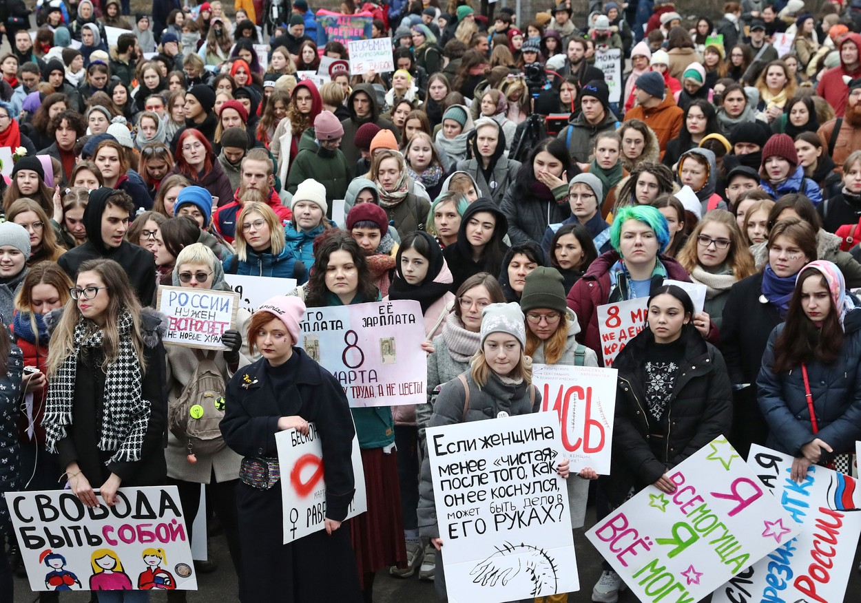 MOSCOW, RUSSIA - MARCH 8, 2020: Participants in a rally for women's solidarity and women's rights, organized by the group of activists We Are Khachaturyan Sisters to mark International Women's Day in Moscow's Sokolniki Hyde Park. The protesters stand out for a draft law protecting women from domestic violence, for equality, against sexism, female objectification, and political repression. Sergei Fadeichev/TASS, Image: 504612082, License: Rights-managed, Restrictions: , Model Release: no, Credit line: Sergei Fadeichev / TASS / Profimedia