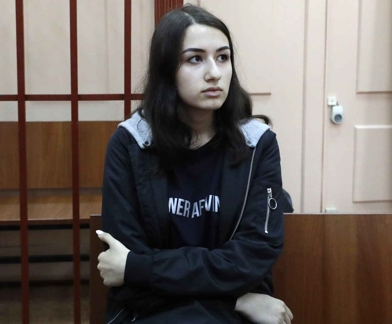 MOSCOW, RUSSIA - JUNE 26, 2019: Krestina, one of the three Khachaturyan teen sisters charged with their father's murder, attends a hearing at Moscow's Basmanny District Court, a motion filed to extend their house arrest. Mikhail Khachaturyan, 57, was killed by his three daughters Maria, Angelina and Krestina, 17, 18 and 19 respectively, in their flat on July 27, 2018. Sergei Karpukhin/TASS, Image: 451611948, License: Rights-managed, Restrictions: , Model Release: no, Credit line: Sergei Karpukhin / TASS / Profimedia
