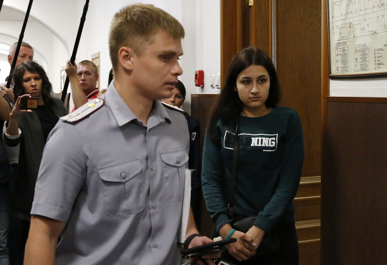 MOSCOW, RUSSIA - JUNE 26, 2019: Maria (R), one of the three Khachaturyan teen sisters charged with their father's murder, attends a hearing at Moscow's Basmanny District Court, a motion filed to extend their house arrest. Mikhail Khachaturyan, 57, was killed by his three daughters Maria, Angelina and Krestina, 17, 18 and 19 respectively, in their flat on July 27, 2018. Sergei Karpukhin/TASS, Image: 451617977, License: Rights-managed, Restrictions: , Model Release: no, Credit line: Sergei Karpukhin / TASS / Profimedia
