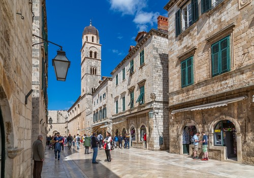 Visitors on Stradun and Franciscan Church and Monastery, Dubrovnik Old Town, UNESCO World Heritage Site, Dubrovnik, Dalmatia, Croatia, Europe, Image: 468675434, License: Rights-managed, Restrictions: , Model Release: no, Credit line: Frank Fell / robertharding / Profimedia