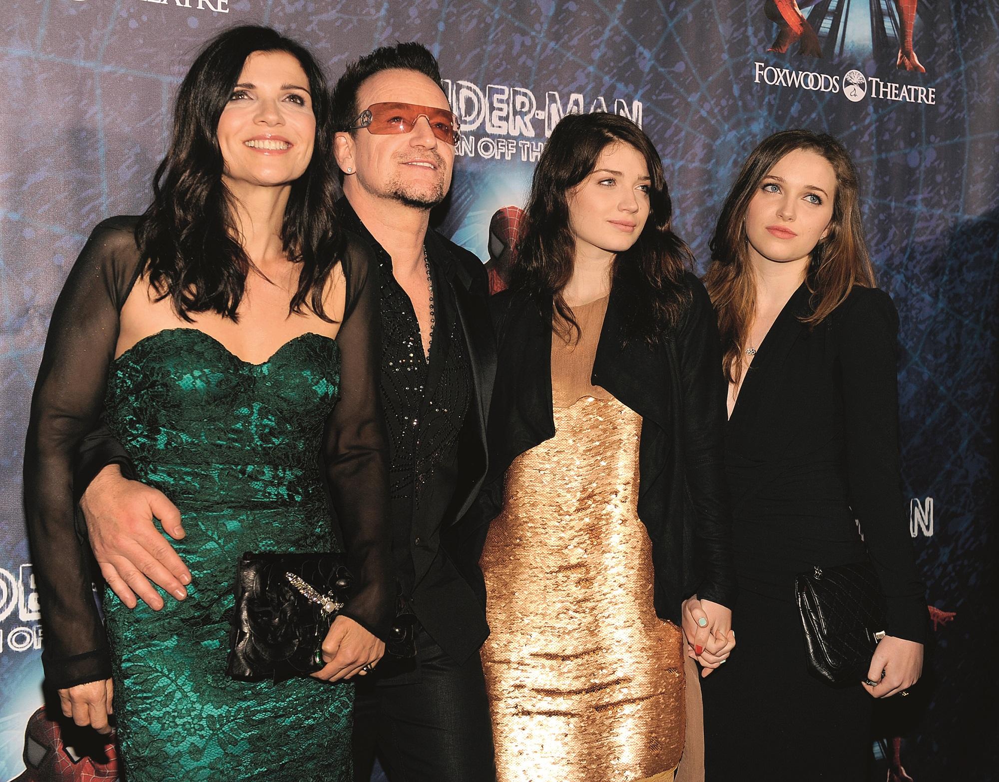 NEW YORK, NY - JUNE 14:  Ali Hewson, Bono of U2, Eve Hewson and Jordan Hewson attend