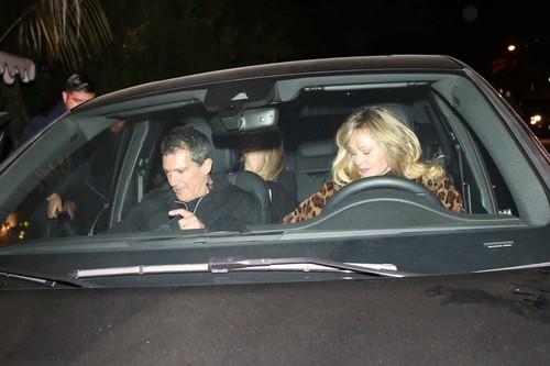West Hollywood, CA  - Melanie Griffith, Antonio Banderas, and his Girlfriend Nicole Kimpel are seen leaving Sara Foster's birthday at San Vicente Bungalows.  BACKGRID USA 5 FEBRUARY 2020, Image: 496753898, License: Rights-managed, Restrictions: , Model Release: no, Credit line: Roger / BACKGRID / Backgrid USA / Profimedia