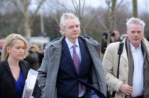 Pic Shows: Wikileaks founder Julian Assange arriving at Belmarsh Magistrates Court, London, where he is fighting an extradition hearing where the Swedish Authorities are requesting his extradition on charges of sexual assault., Image: 90207121, License: Rights-managed, Restrictions: WORLD RIGHTS - Fee Payable Upon Reproduction - For queries call Photoshot Global HQ - London + 44 (0)20 7421 6000  , also  New York Office   Tel : + 1 646-429-8731 and  Hamburg Office Tel  +49 (0)40 530 240 5959, Model Release: no, Credit line: Photoshot / Avalon Editorial / Profimedia