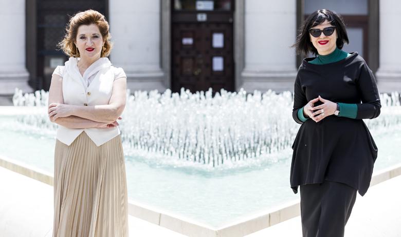 Zagreb, 210520. Trg burze. Na fotografiji: Mirjana Dugandzija i Mirela Holly. Foto: Tomislav Kristo / CROPIX