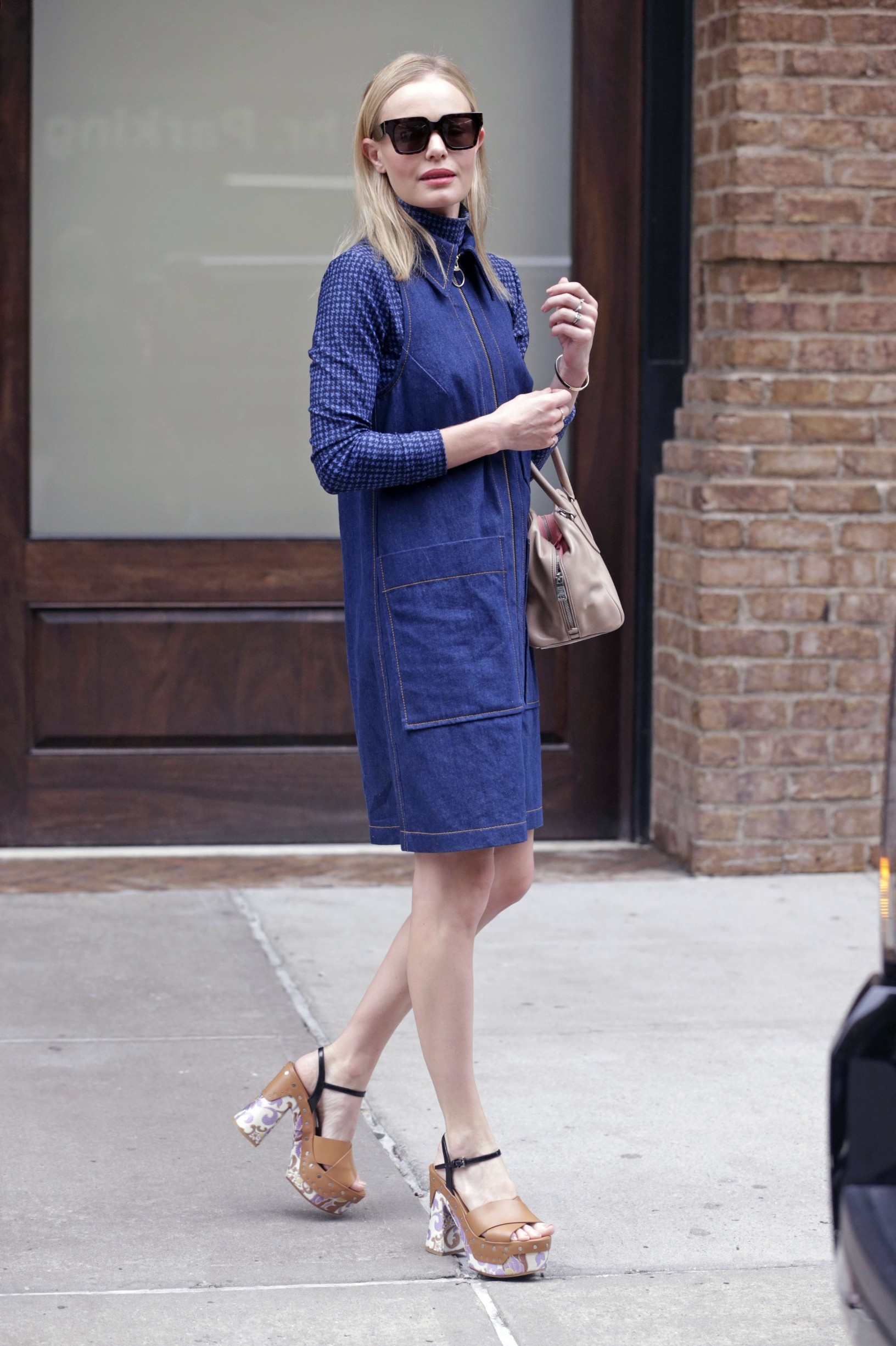 142261, Kate Bosworth wears a collared zip up denim dress with chunky brown heels accented with a paisley print while exiting The Greenwich Hotel in NYC. New York, New York - Friday September 11, 2015., Image: 258205578, License: Rights-managed, Restrictions: , Model Release: no, Credit line: PacificCoastNews / Pacific coast news / Profimedia
