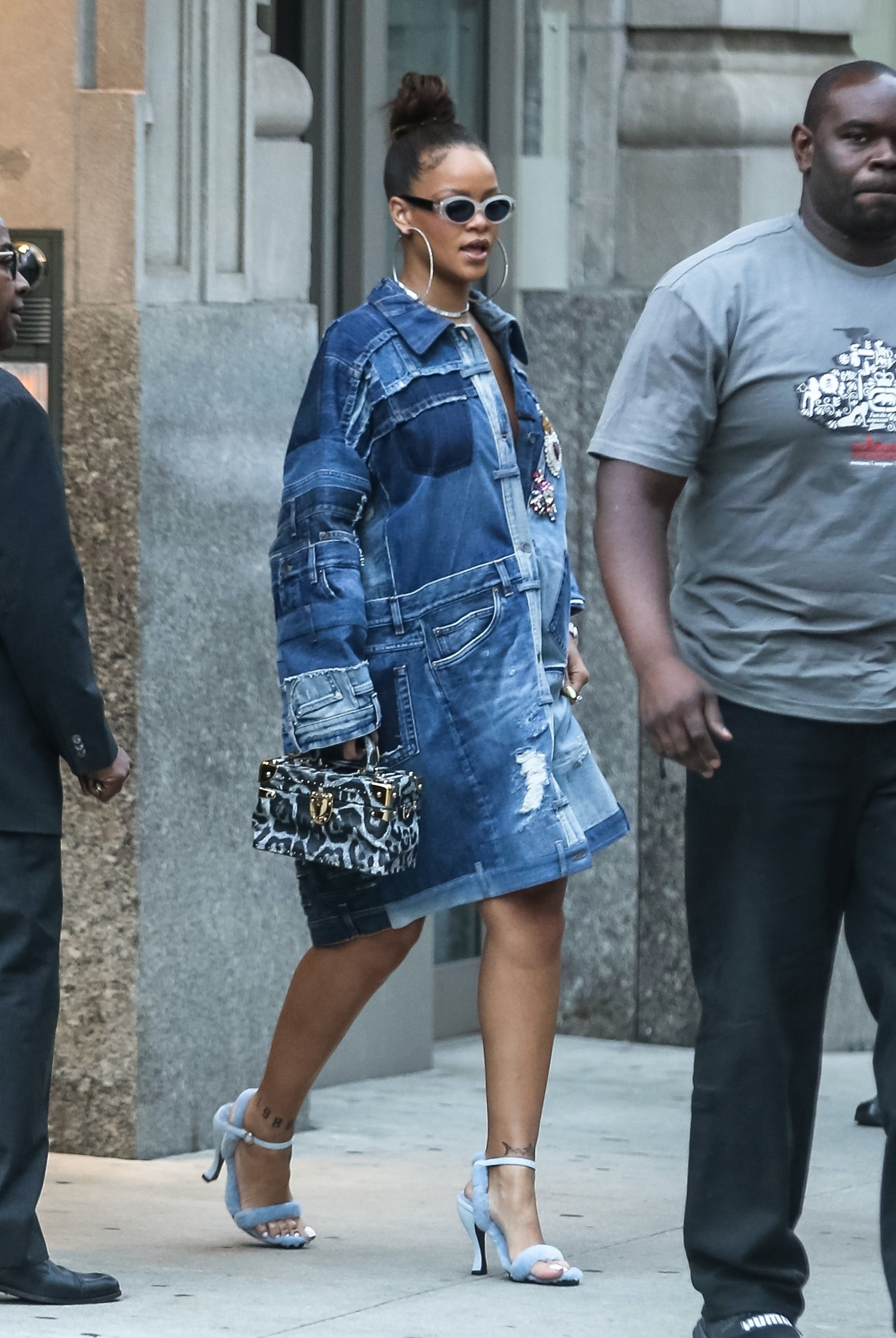 New York, NY  - Rihanna steps out for some apartment hunting in the financial district of New York. Rihanna was rocking a patchwork denim dress and blue heels.  Pictured: Rihanna    *UK Clients - Pictures Containing Children Please Pixelate Face Prior To Publication*, Image: 349299939, License: Rights-managed, Restrictions: , Model Release: no, Credit line: BACKGRID / Backgrid USA / Profimedia