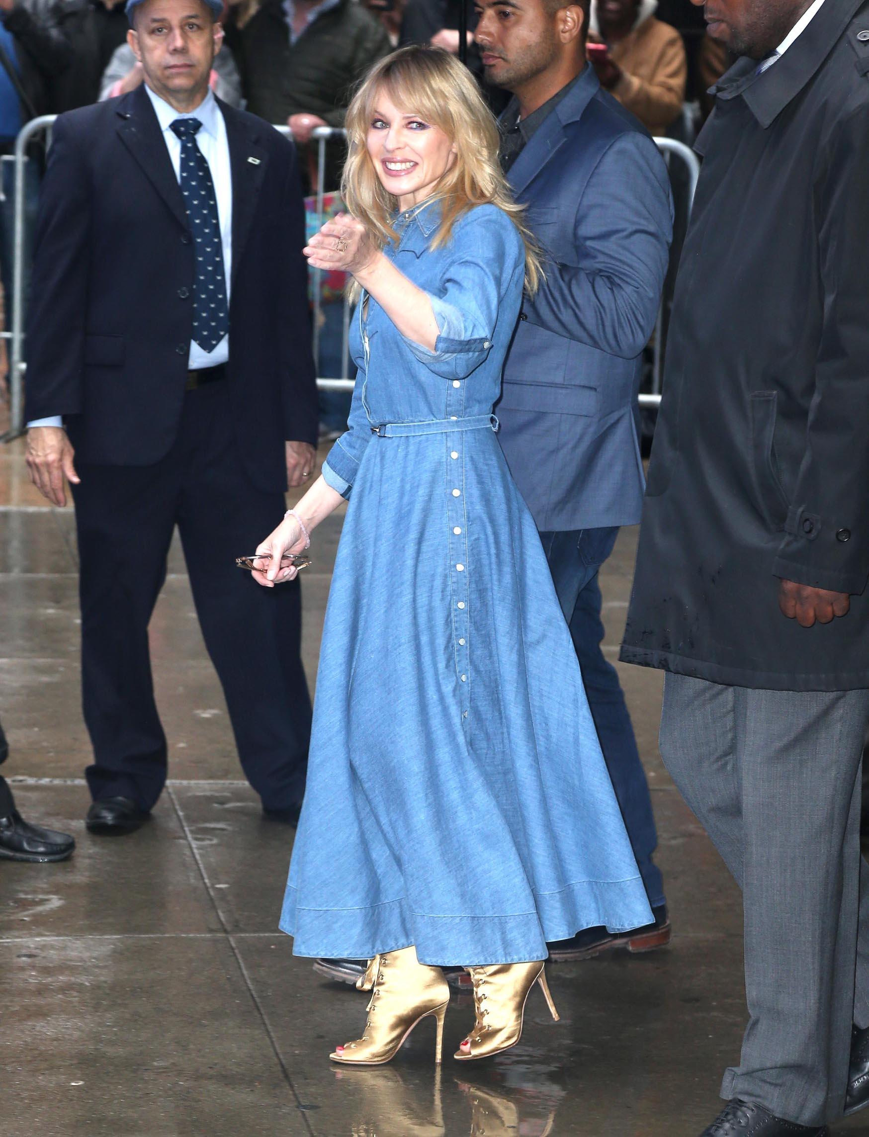 , New York, NY - 20180427-Kylie Minogue Arrives at Good Morning America in Denim Dress  -PICTURED: Kylie Minogue -, Image: 369905489, License: Rights-managed, Restrictions: , Model Release: no, Credit line: DARA KUSHNER / INSTAR Images / Profimedia